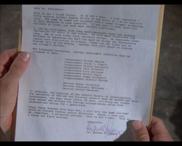 "Blackmail letter from MISSION: IMPOSSIBLE: ""Ultimatum"""