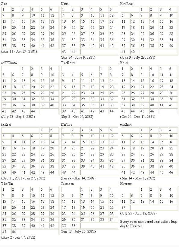 Romulan Calendar