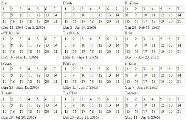 Vulcan Calendar